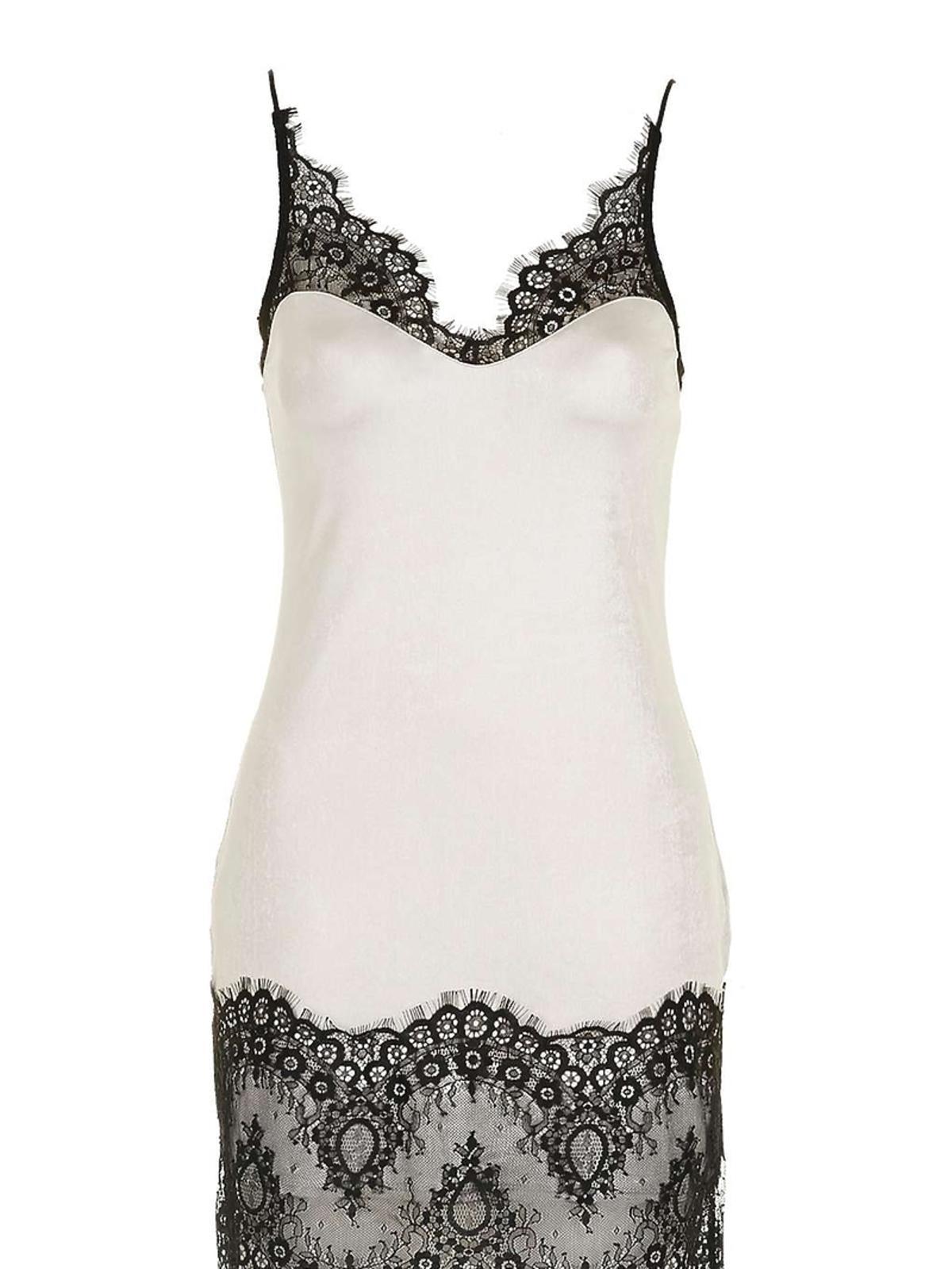 Biała sukienka z czarną koronką