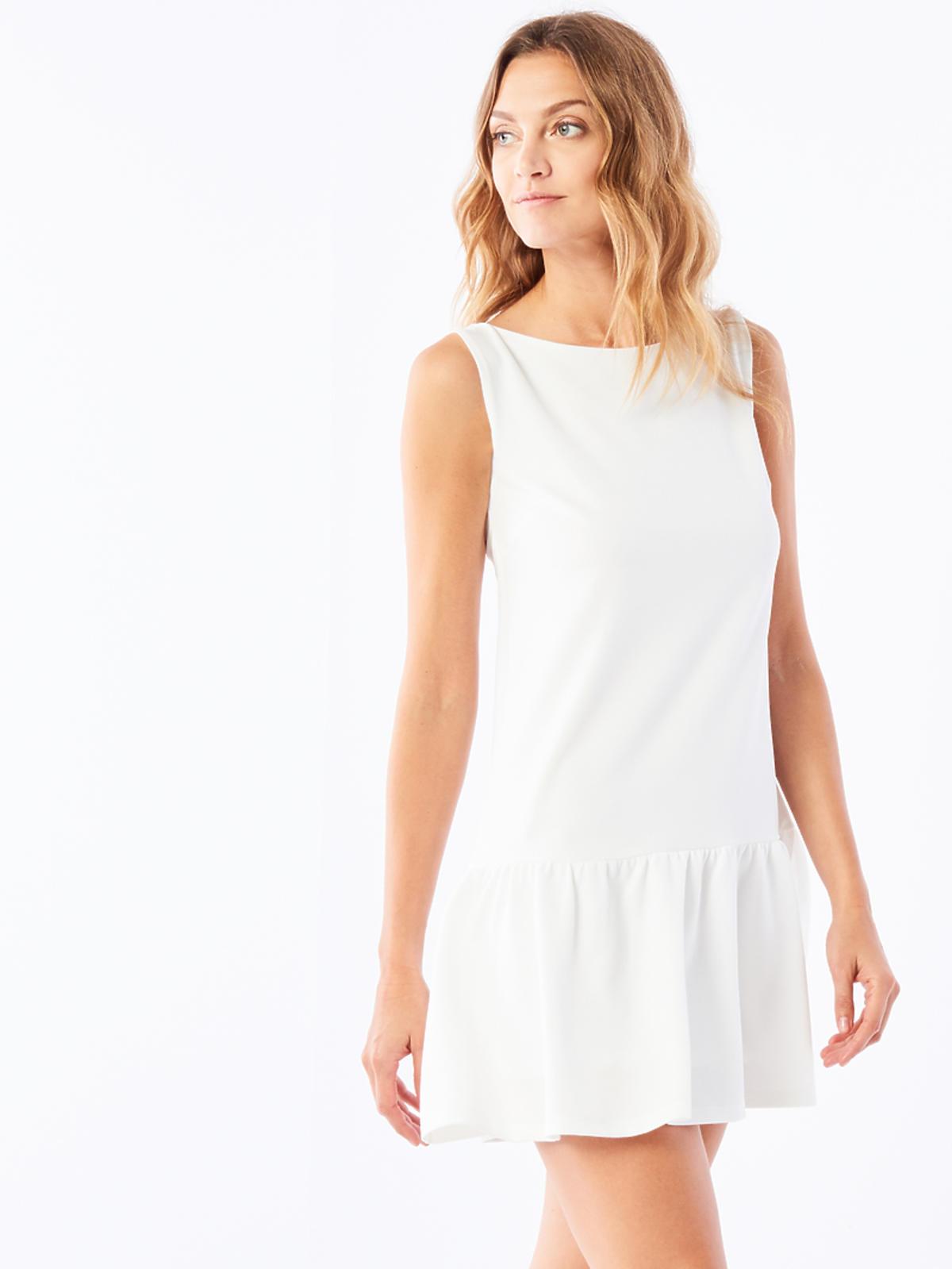 Biała sukienka z falbaną, Orsay, przeceniona z 99,00 zł na 79,90 zł