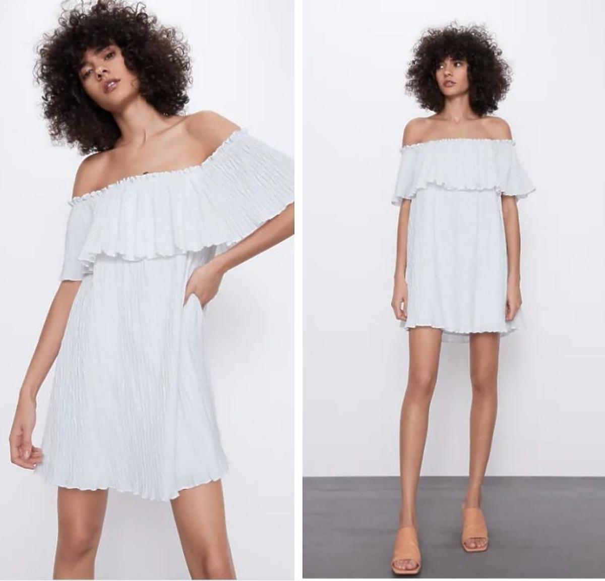 Biała sukienka z falbaną z Zara
