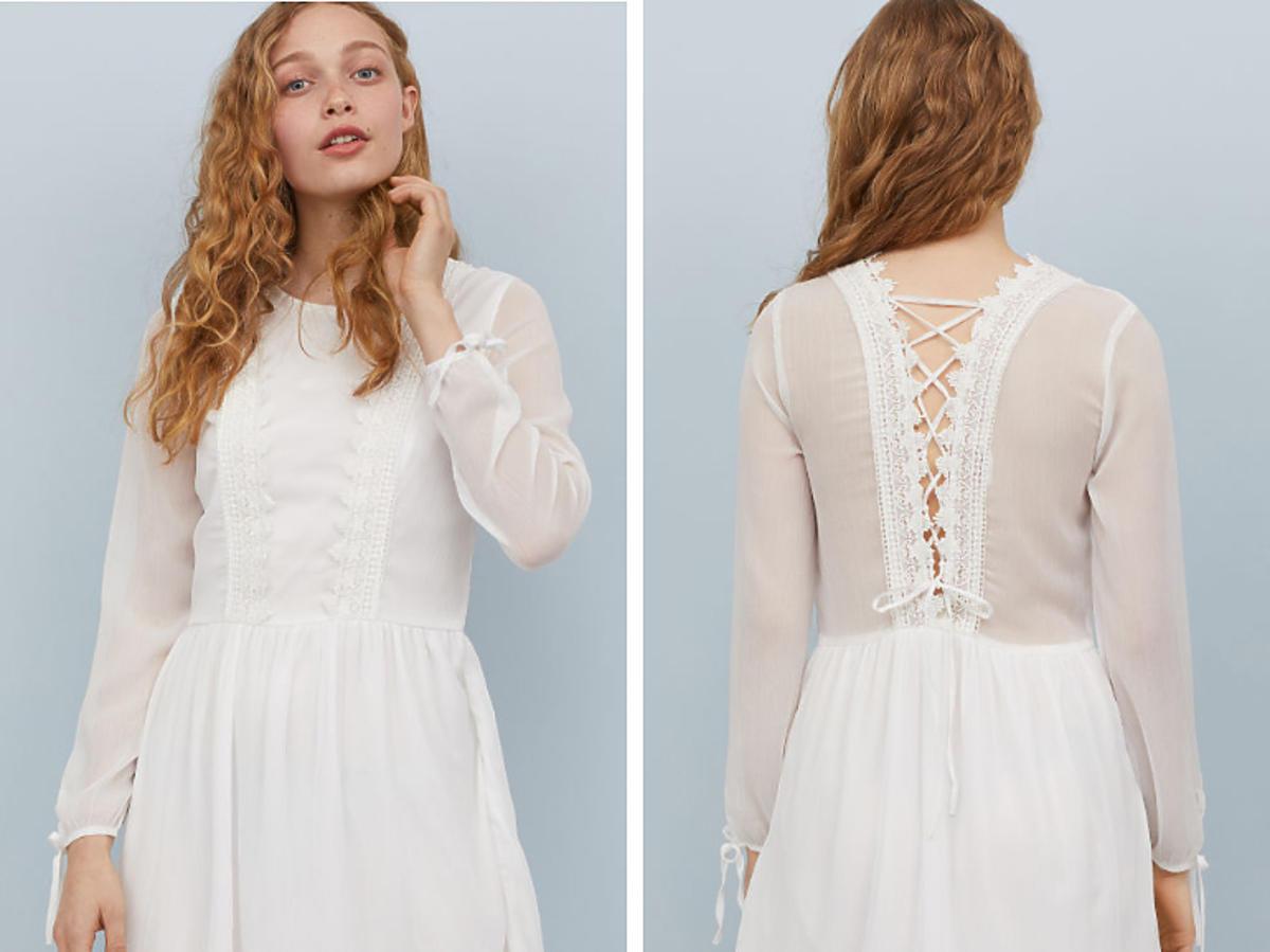 biała sukienka z H&M