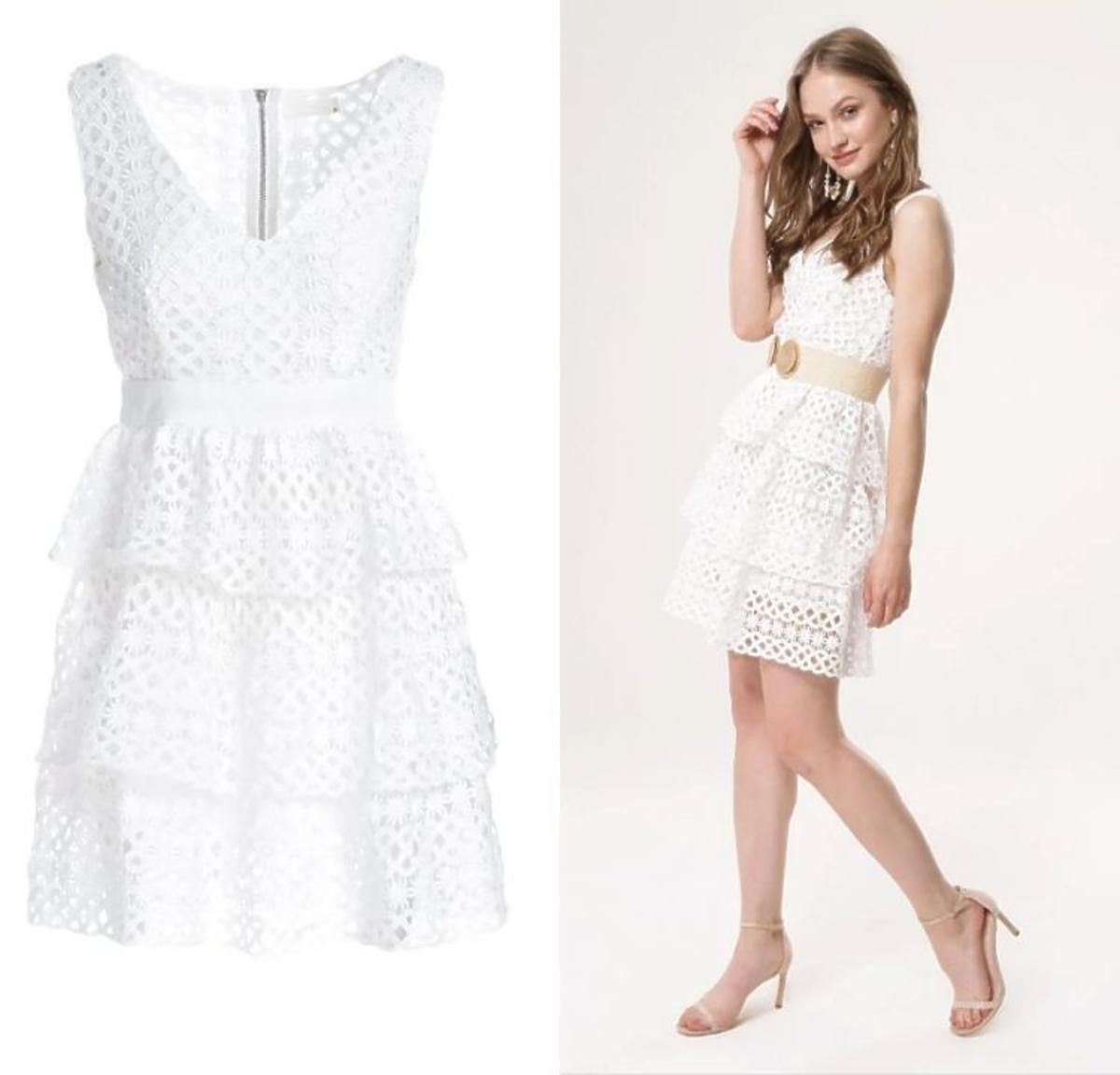 Biała sukienka z koronki Born2be