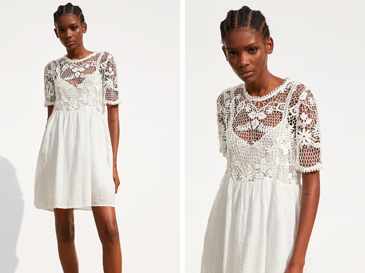 biała sukienka z Zary z koronką