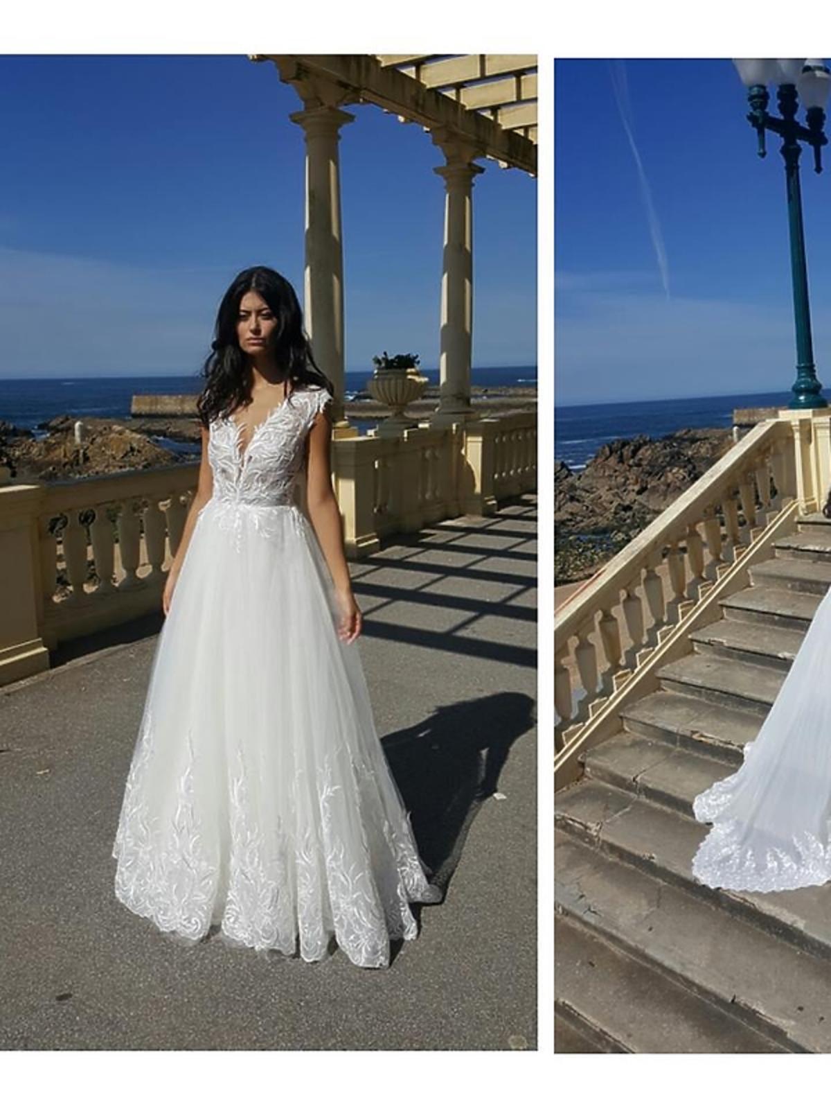 Biała suknia z długim trenem
