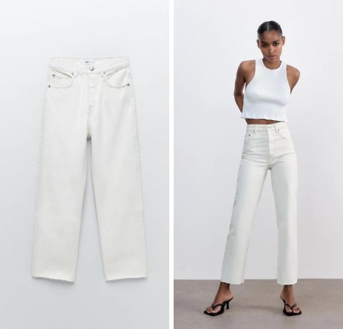 Białe jeansy Zara 119 zł w stylu Anny Lewandowskiej