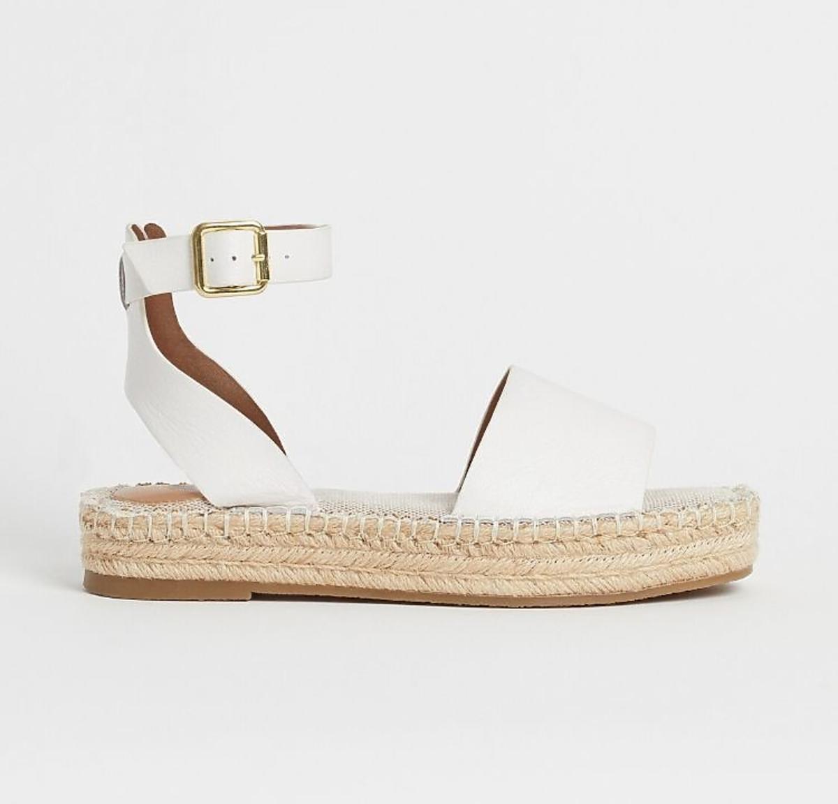 Białe sandały na słomianej podeszwie H&M