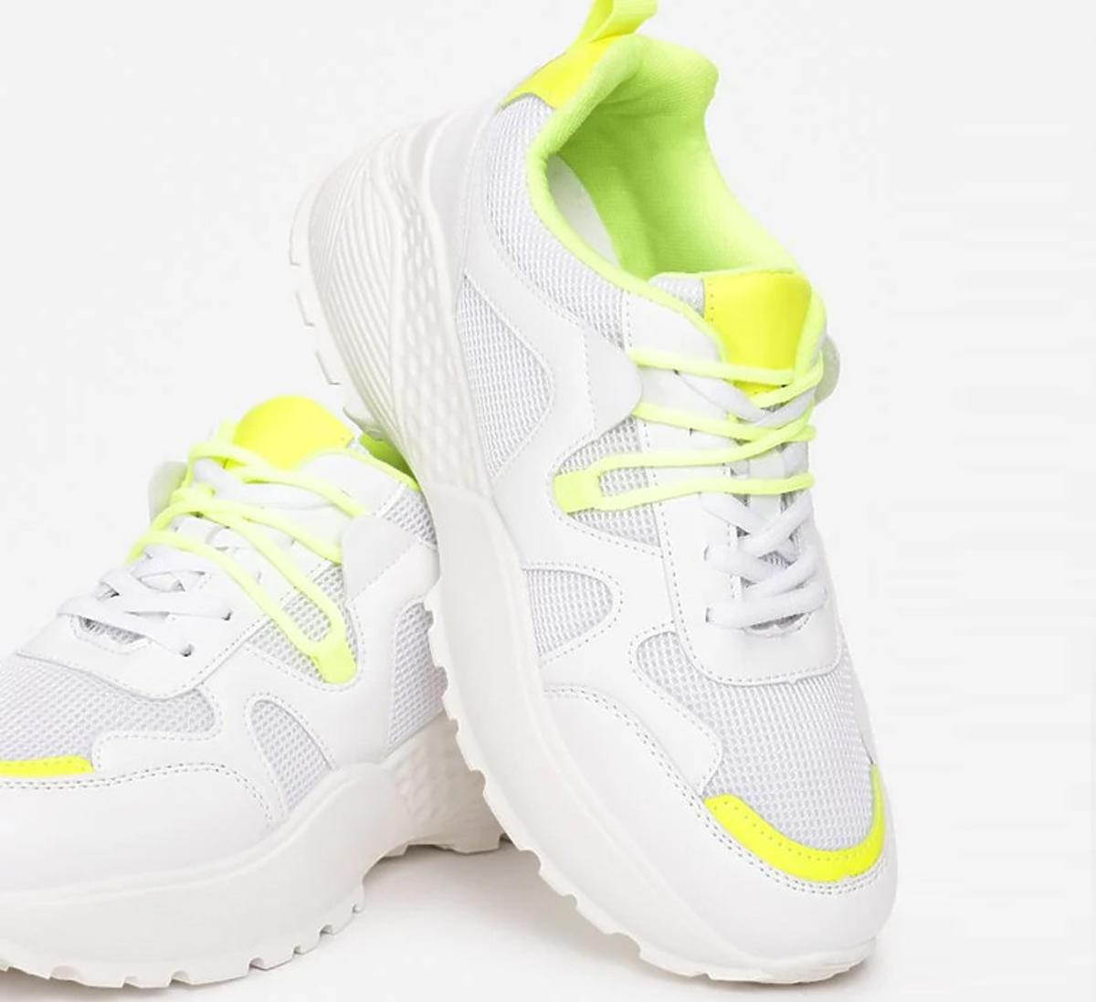 Białe sneakersy z fluorescencyjnym żółtym, Born2Be, 69,99 zł