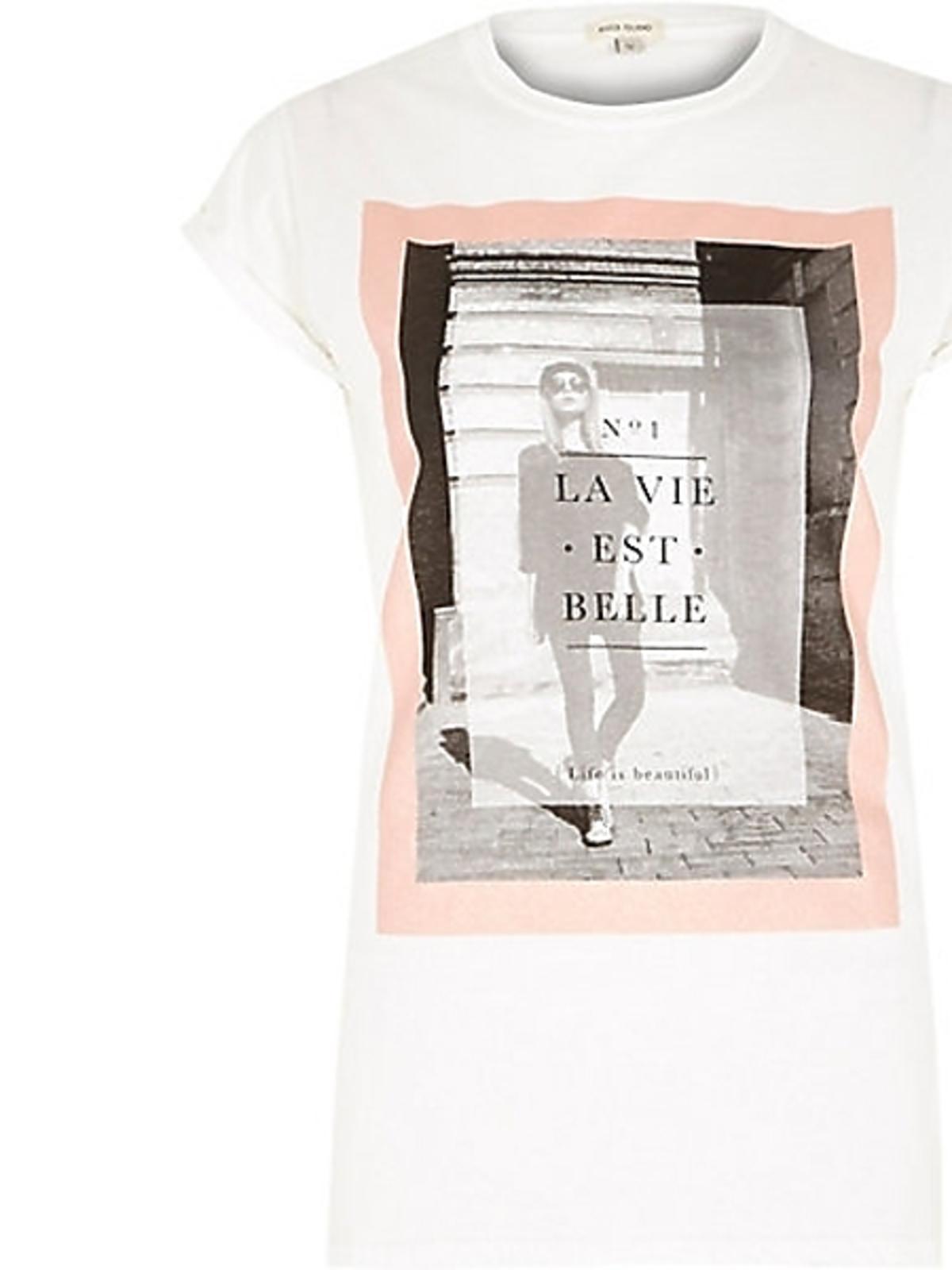 Biały t-shirt River Island, cena