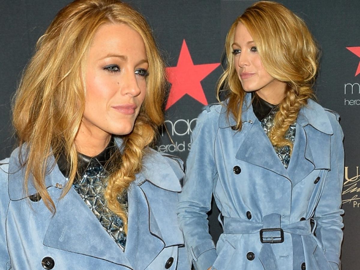 Blake Lively w niebieskim płaszczu Gucci