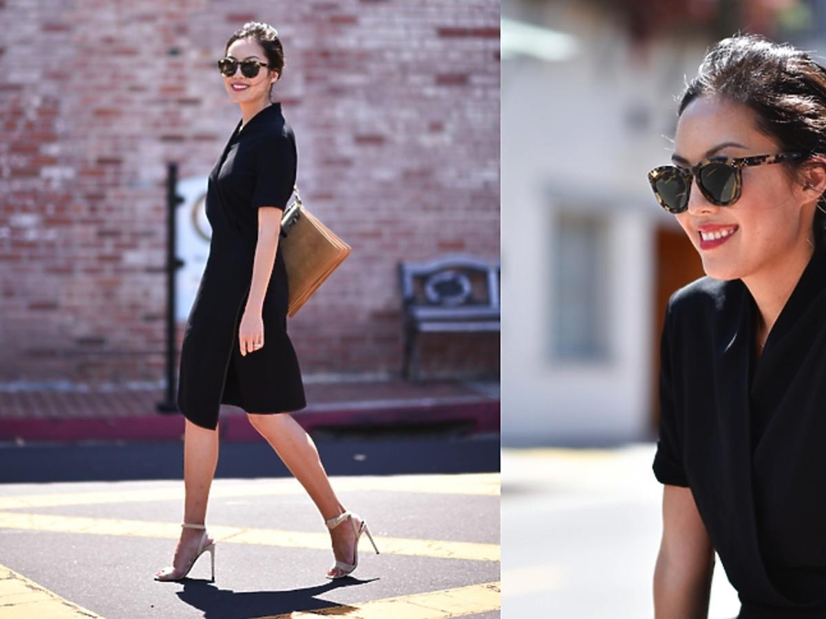 Blogerka 9to5chic w czarnej sukience