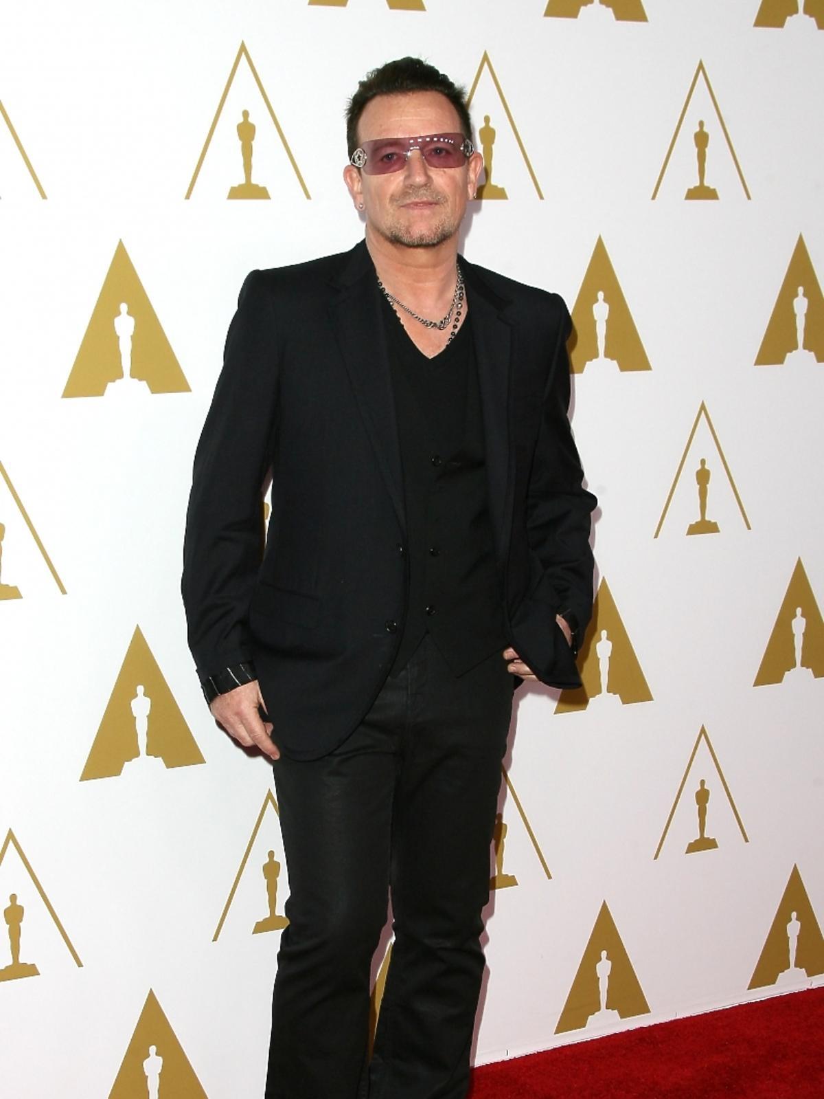 Bono podczas konferencji prasowej nominacji do Oscarów 2014
