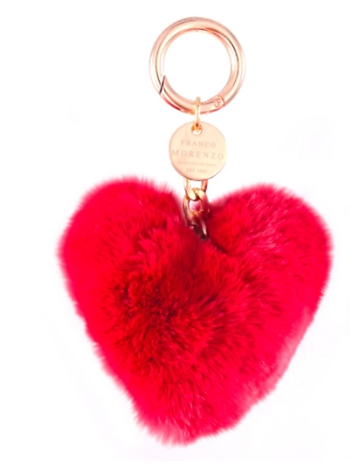 brelok futerko czerwone serce