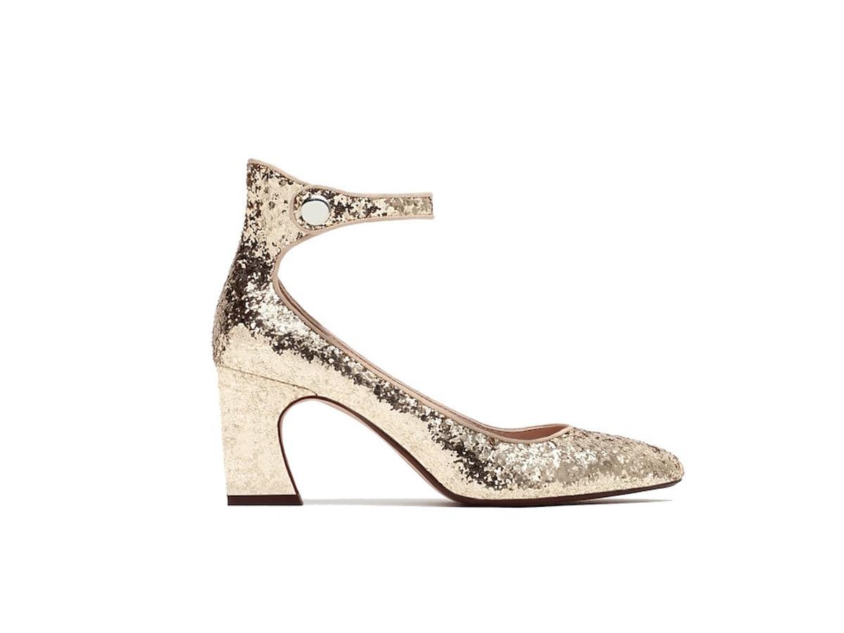 Brokatowe złote buty