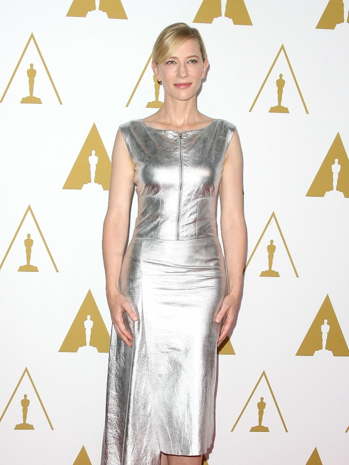 Cate Blanchett podczas konferencji prasowej nominacji do Oscarów 2014