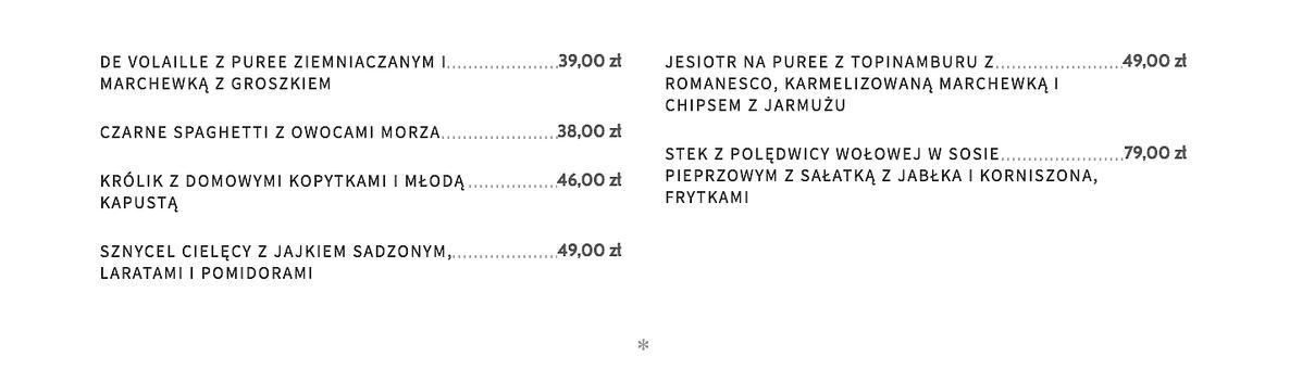 Ceny w restauracji Akademia Borysa Szyca
