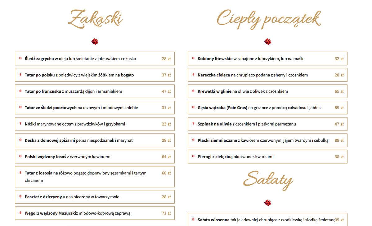 Ceny w restauracji Magdy Gessler - U Fukiera