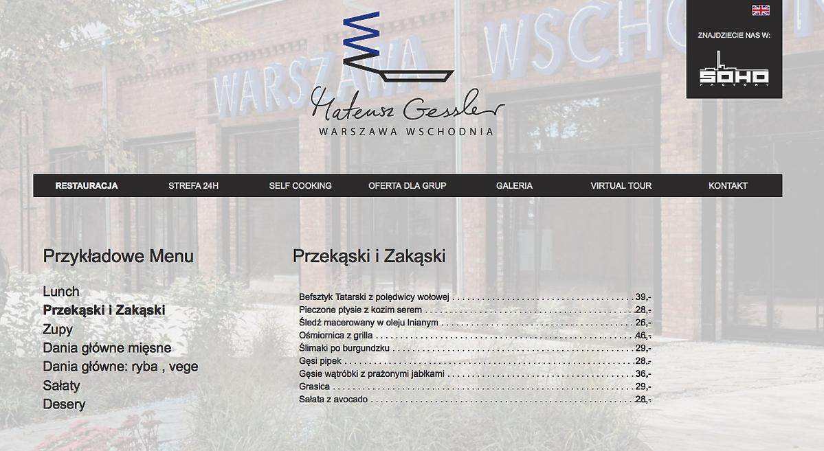Ceny w restauracji Mateusza Gesslera