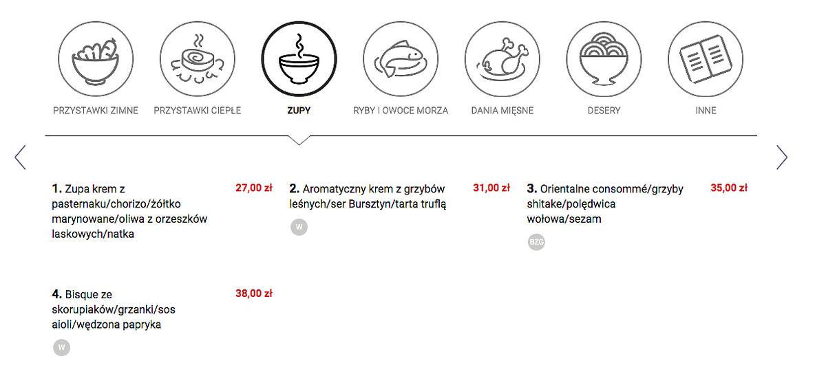 Ceny w restauracji Roberta Sowy - N 31