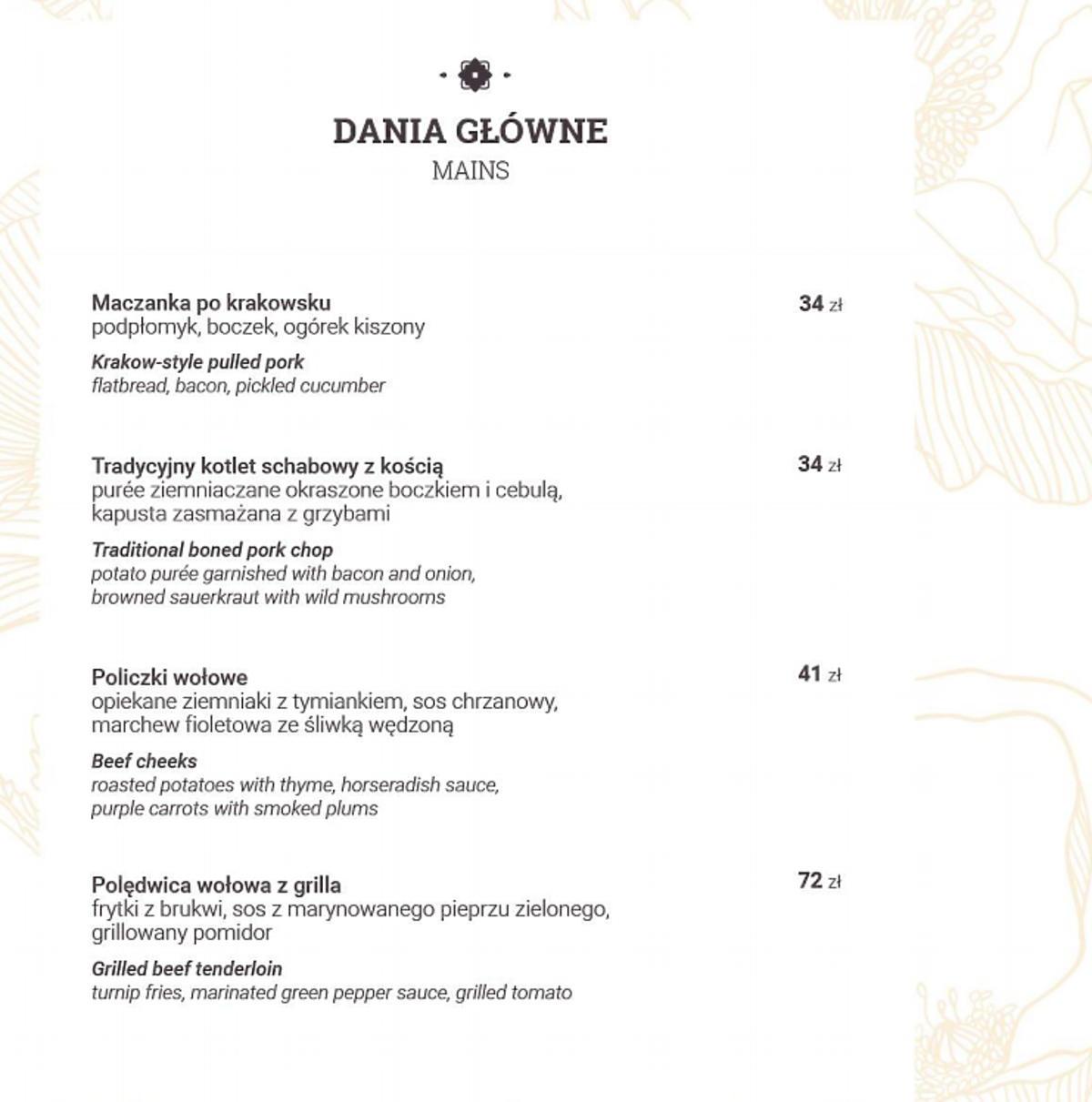 Ceny w restauracji Zalipianki Ewy Wachowicz