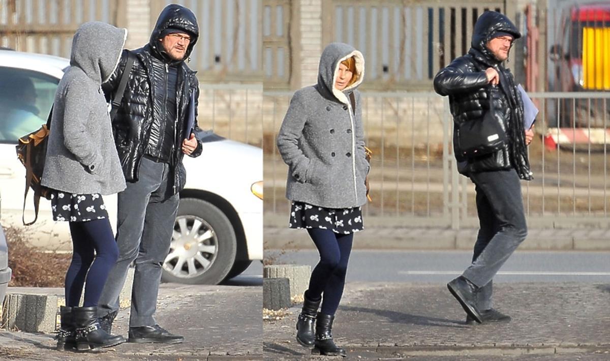 Cezary Pazura z żoną w zimowych stylizacjach