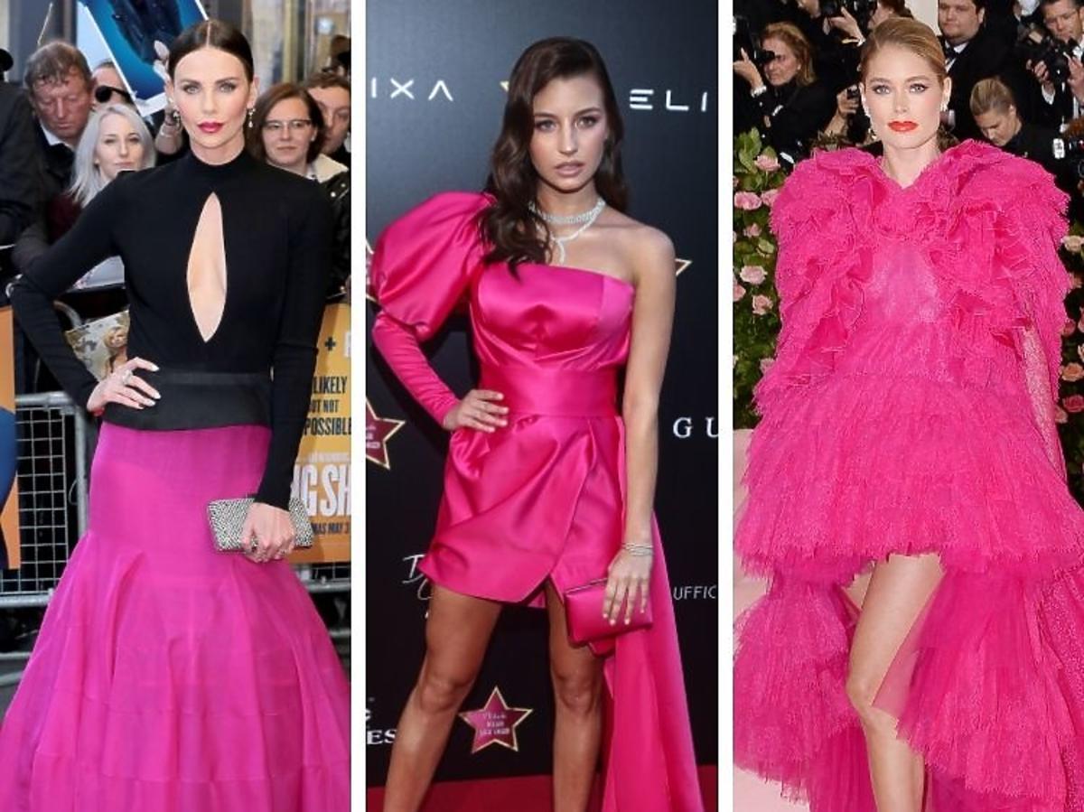 Charlize Theron, Julia Wieniawa, Doutzen Kroes w różowych sukniach