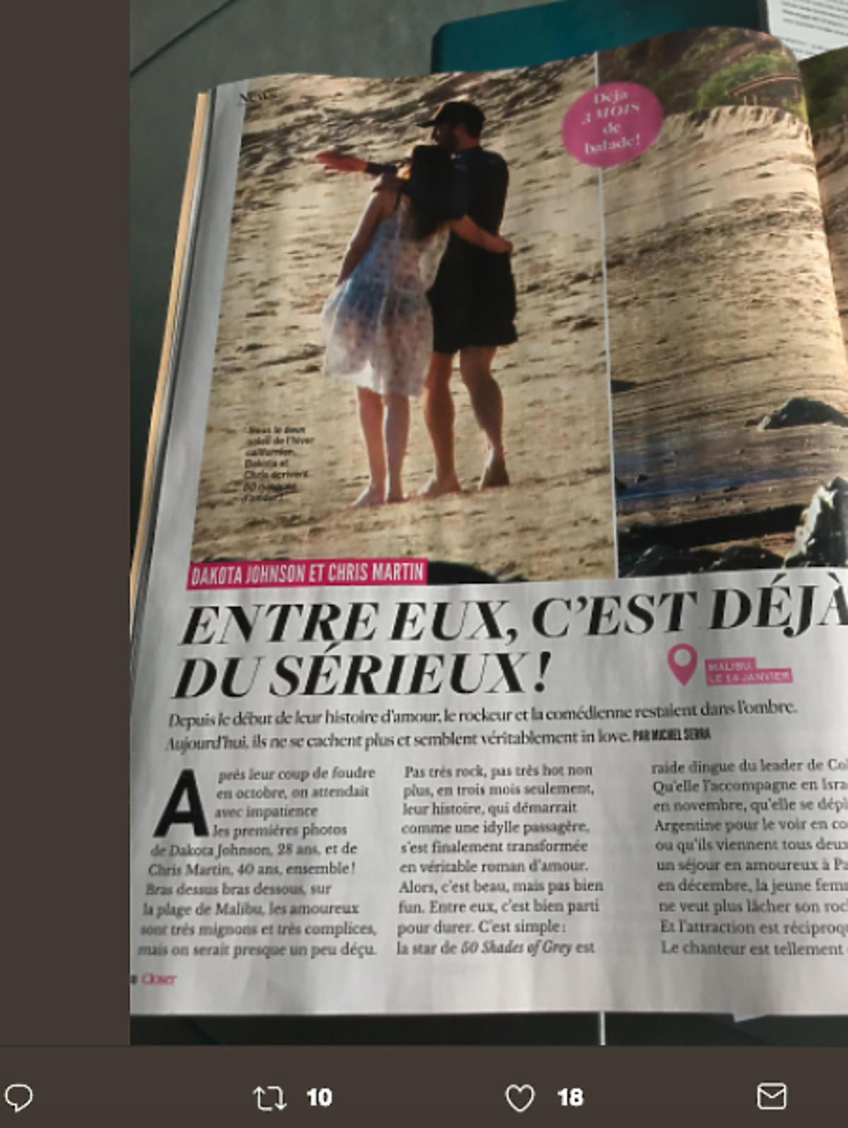 Chris Martin i Dakota Johnson na plaży
