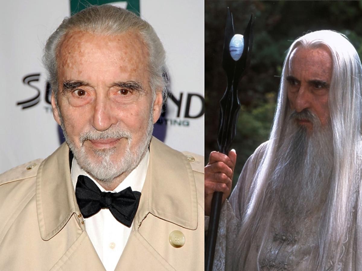 Christopher Lee portret oraz kadr z filmu Władca Pierścieni jako Saruman