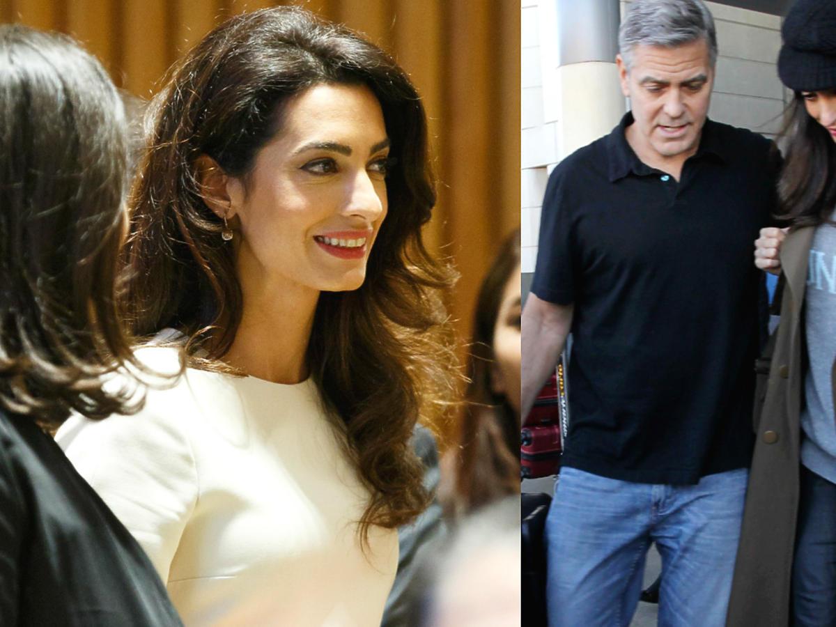 Ciężarna Amal Clooney ukrywa brzuszek na lotnisku. Widać, że będzie mieć bliźniaki? NOWE ZDJĘCIA