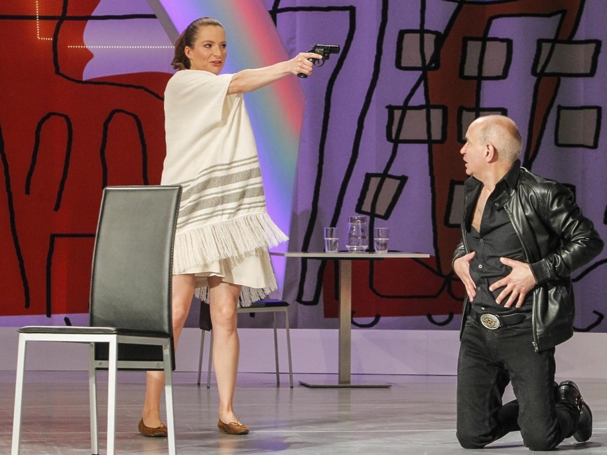 Ciężarna Anna Dereszowska na próbie spektaklu