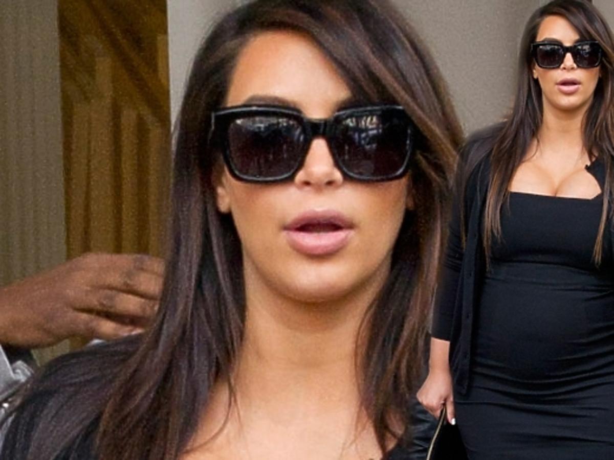Ciężarna Kim Kardashian nie mieści się w sukienki