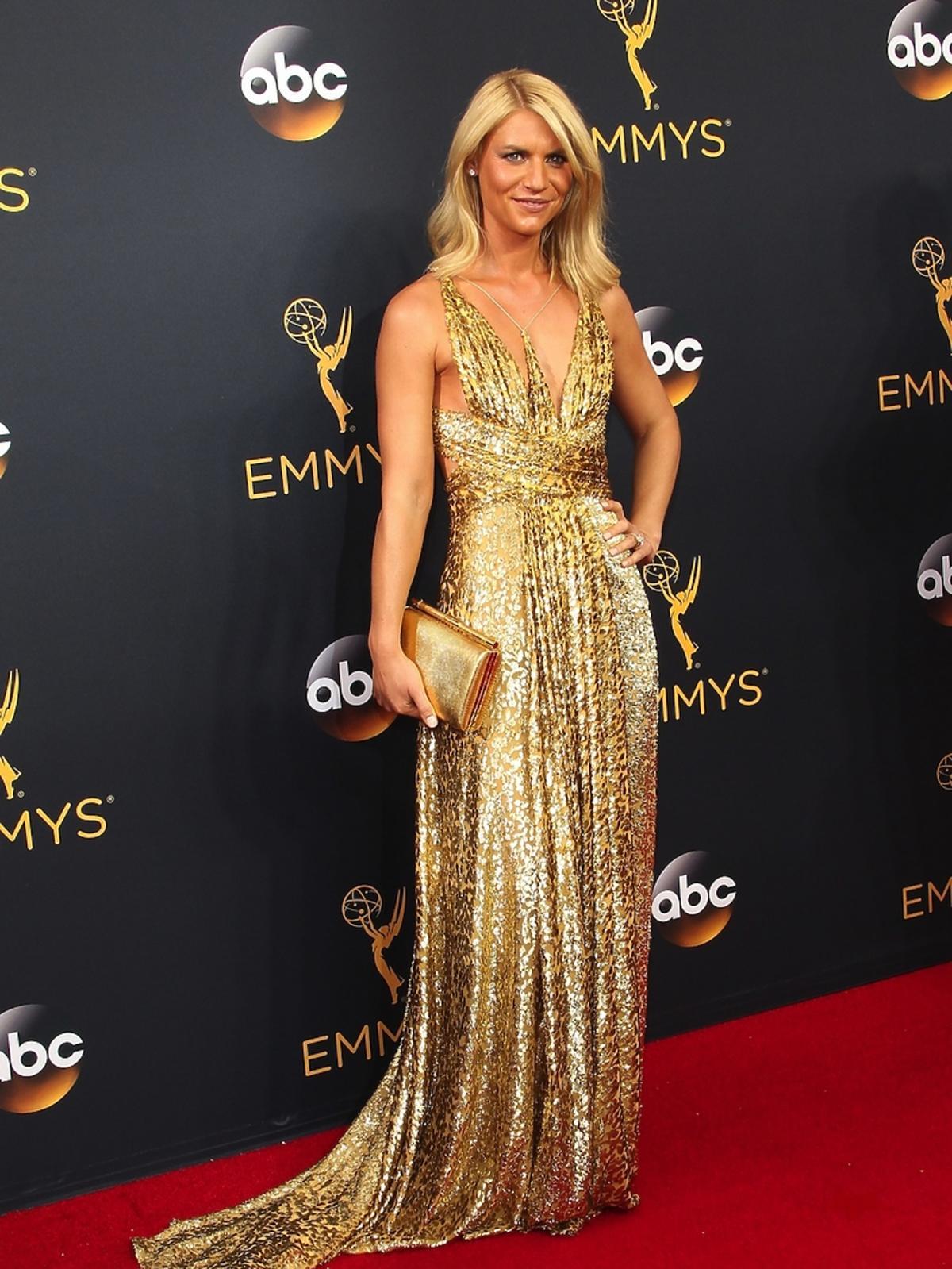Claire Danes w złotej sukni