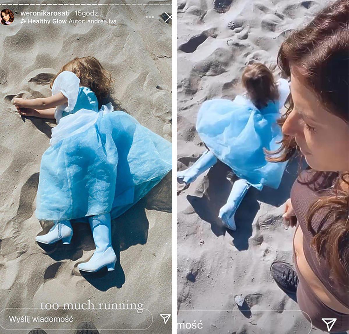 Córka Weroniki Rosati w butach na obcasie