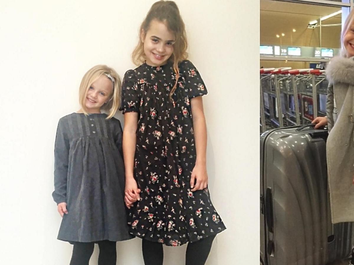 Córki Sary Boruc w dziewczęcych sukienkach, córka z szarym płaszczu