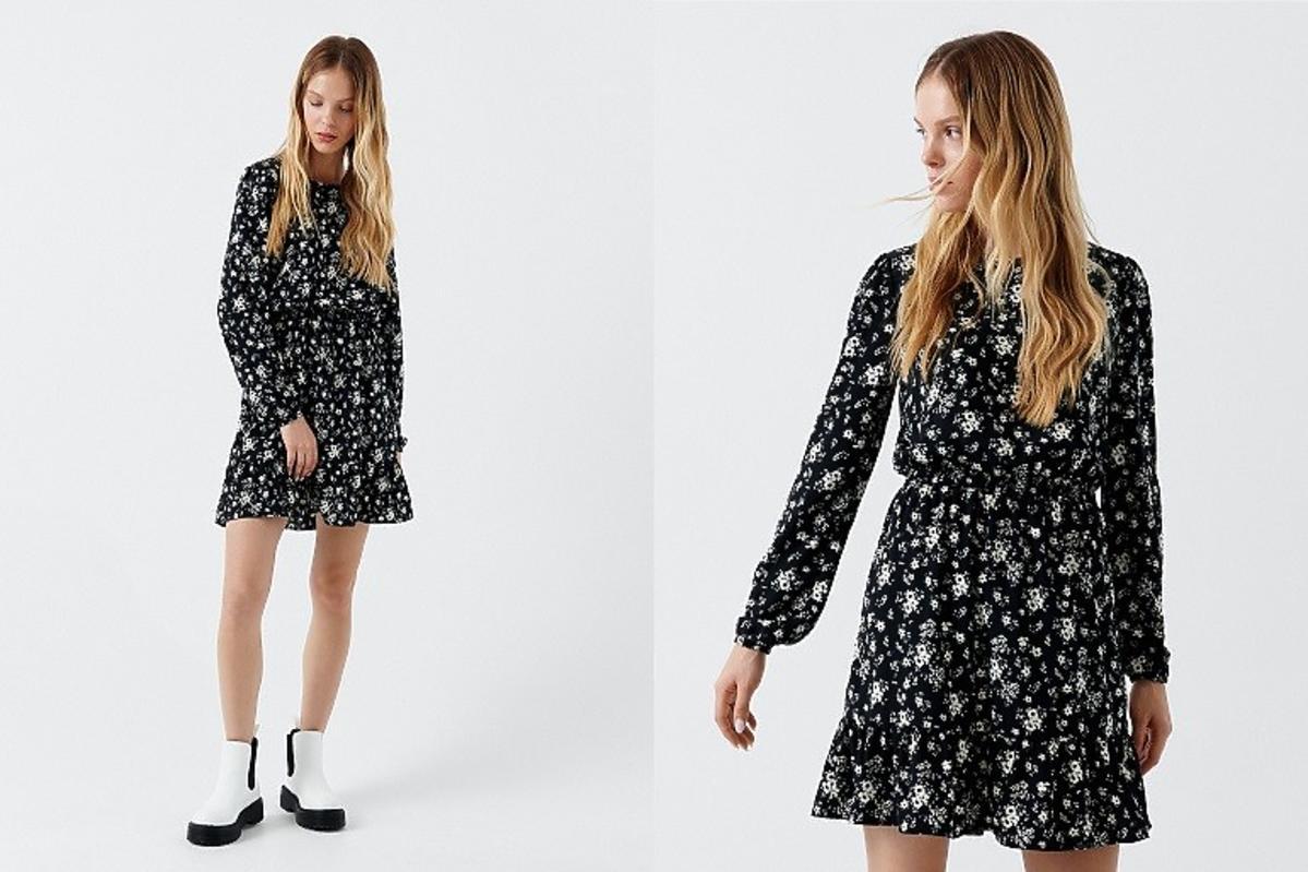 CROPP czarna sukienka w kwiaty z długim rękawem