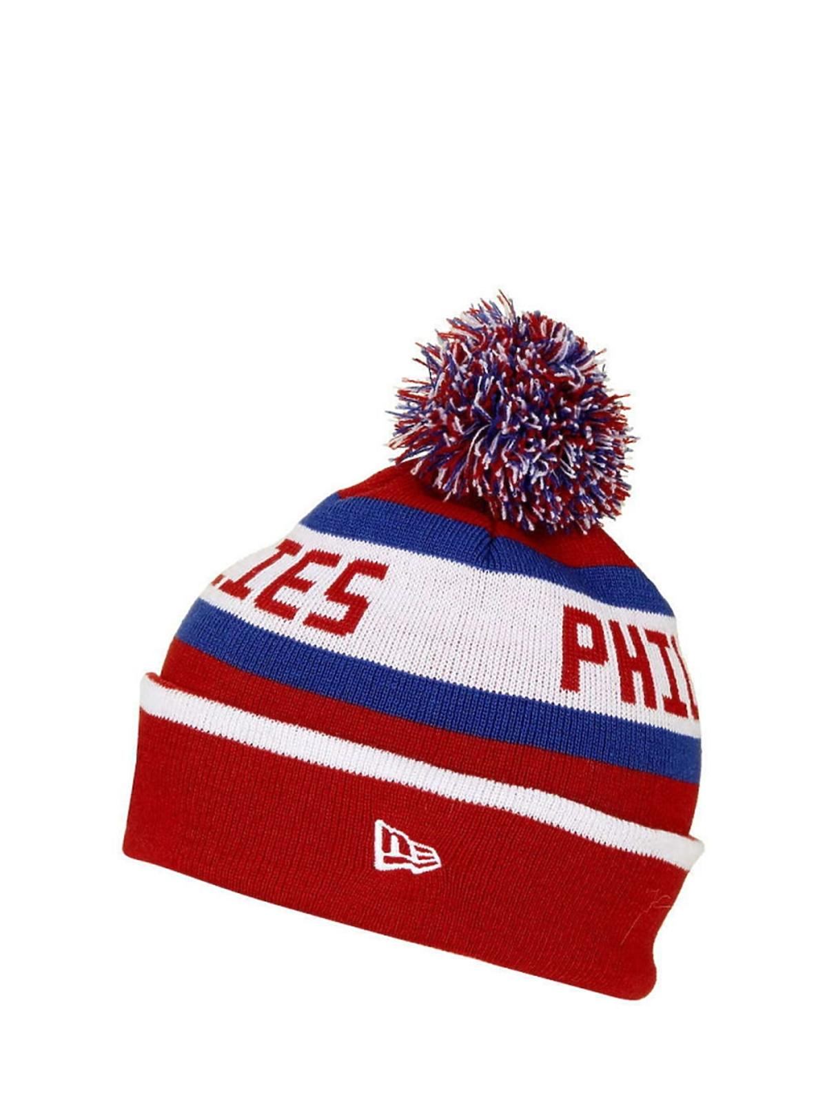 czapka z pomponem w kolorowe wzory