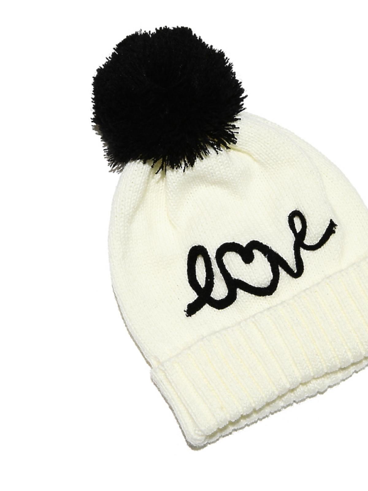 czarn-biała czapka z pomponem