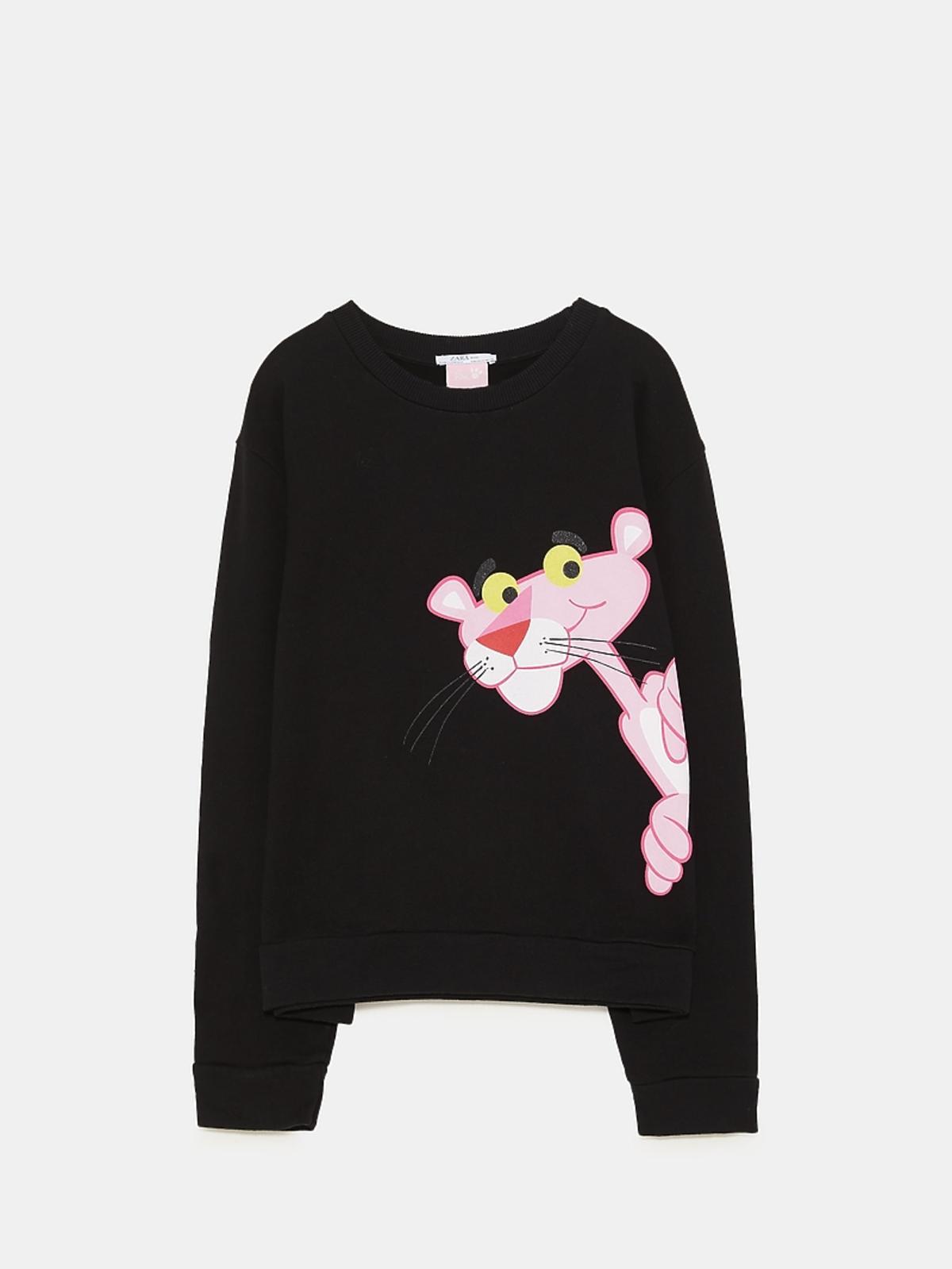 czarna bluza z pantera Zara