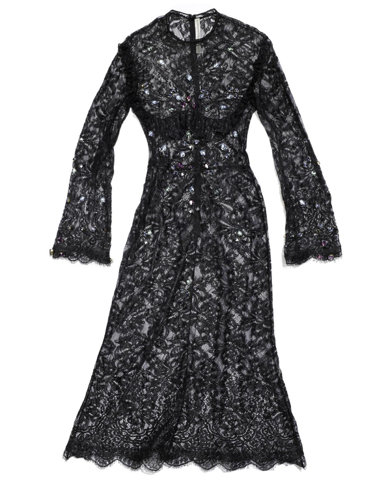czarna koronkowa sukienka z kryształkami