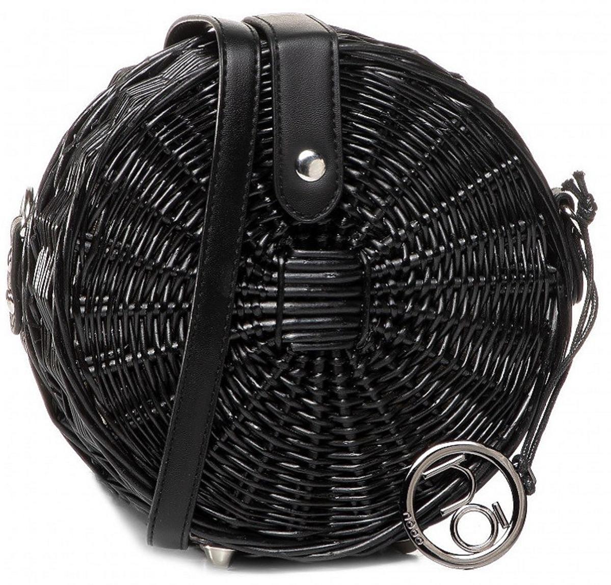 czarna, okrągła torebka z wikliny