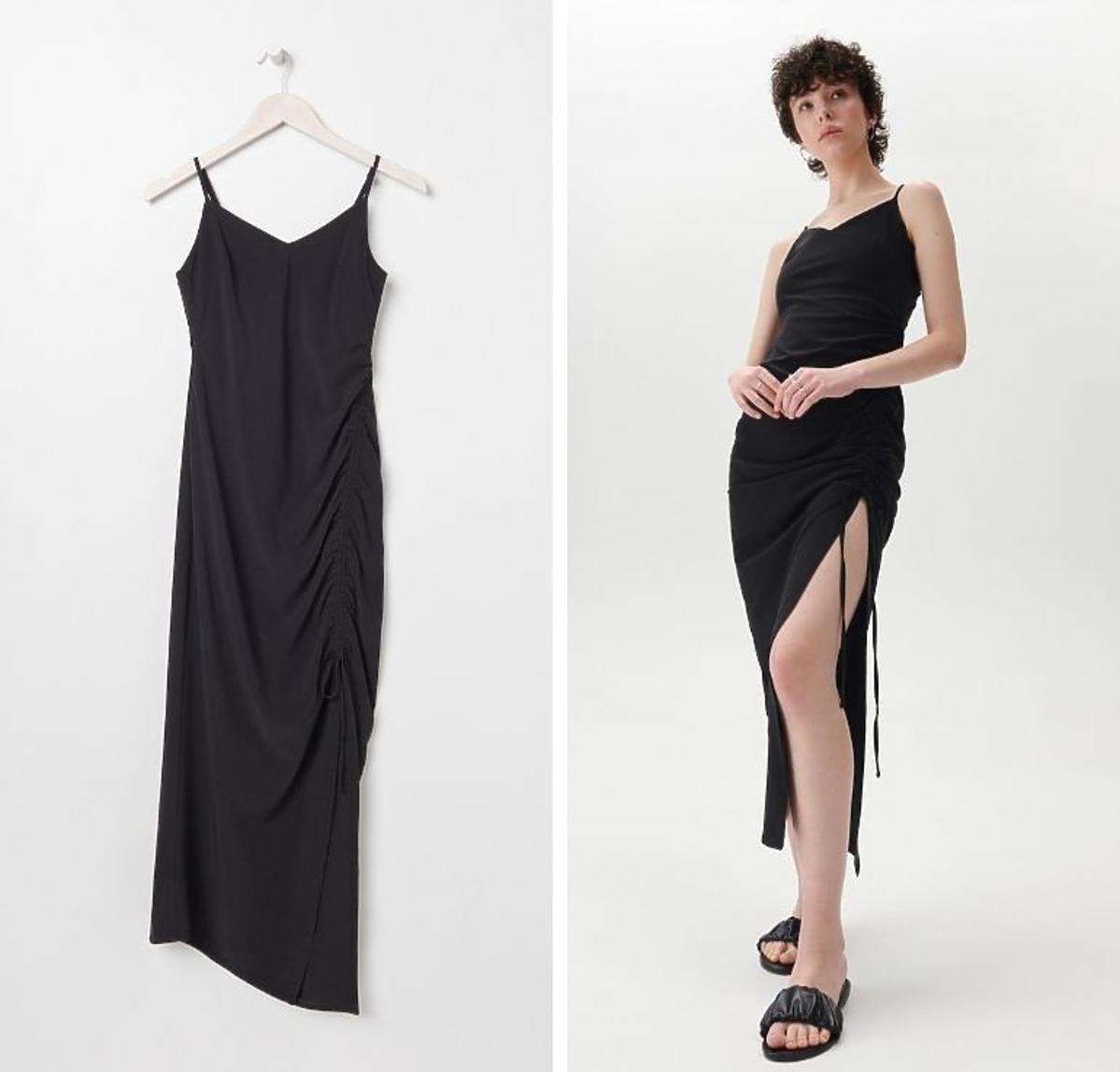 Czarna sukienka z rozcięciem Sinsay