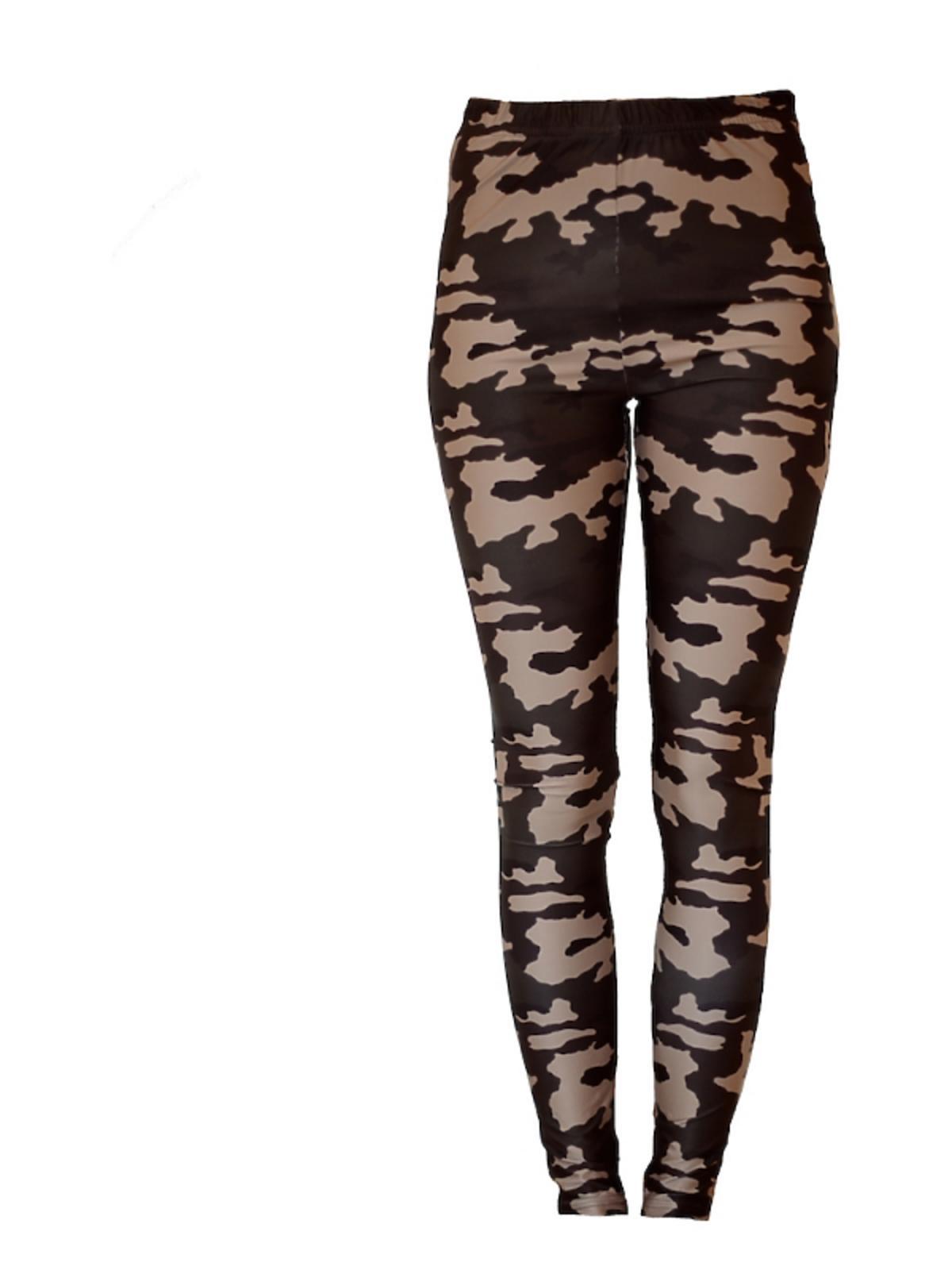 Czarne legginsy w brązowe wzory