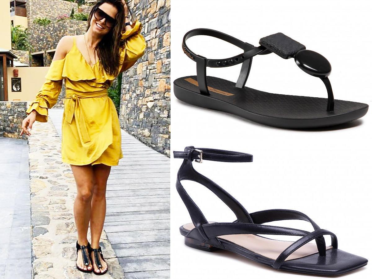 Czarne płaskie sandały japonki