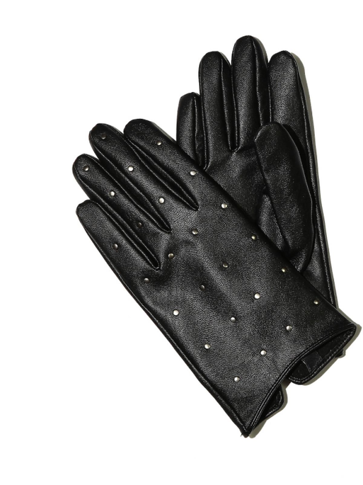 czarne rękawiczki z nitami