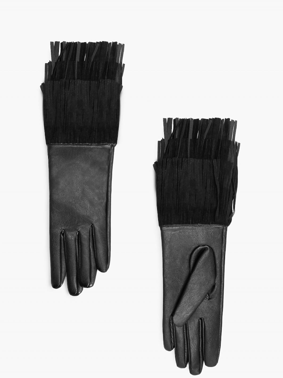 czarne rękwiczki z frędzlami