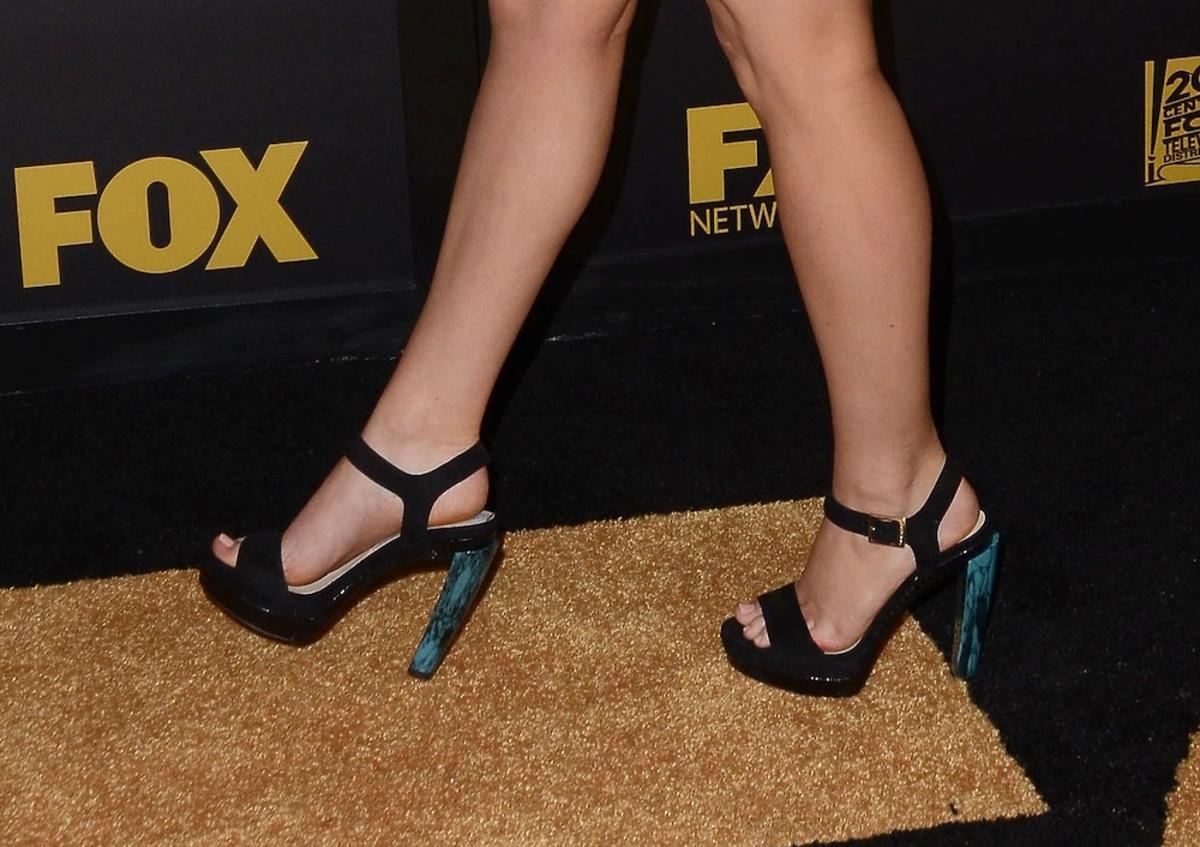Czarne sandałki na obcasie Jennifer Lawrence
