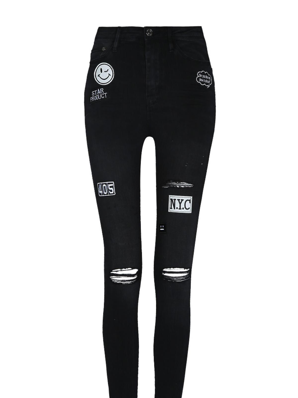 Czarne spodnie z wystrzępionymi nogawkami Tally Weijl, 129,99 zł
