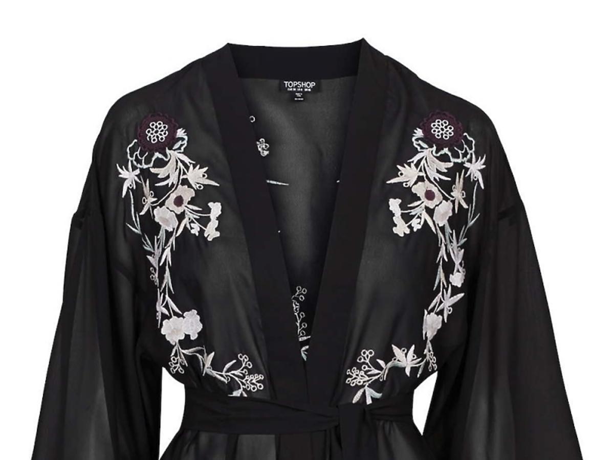 Czarny szlafrok Topshop kimonowy z wzorem