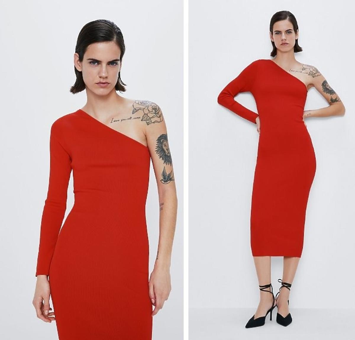 czerwona asymetryczna sukienka Zara