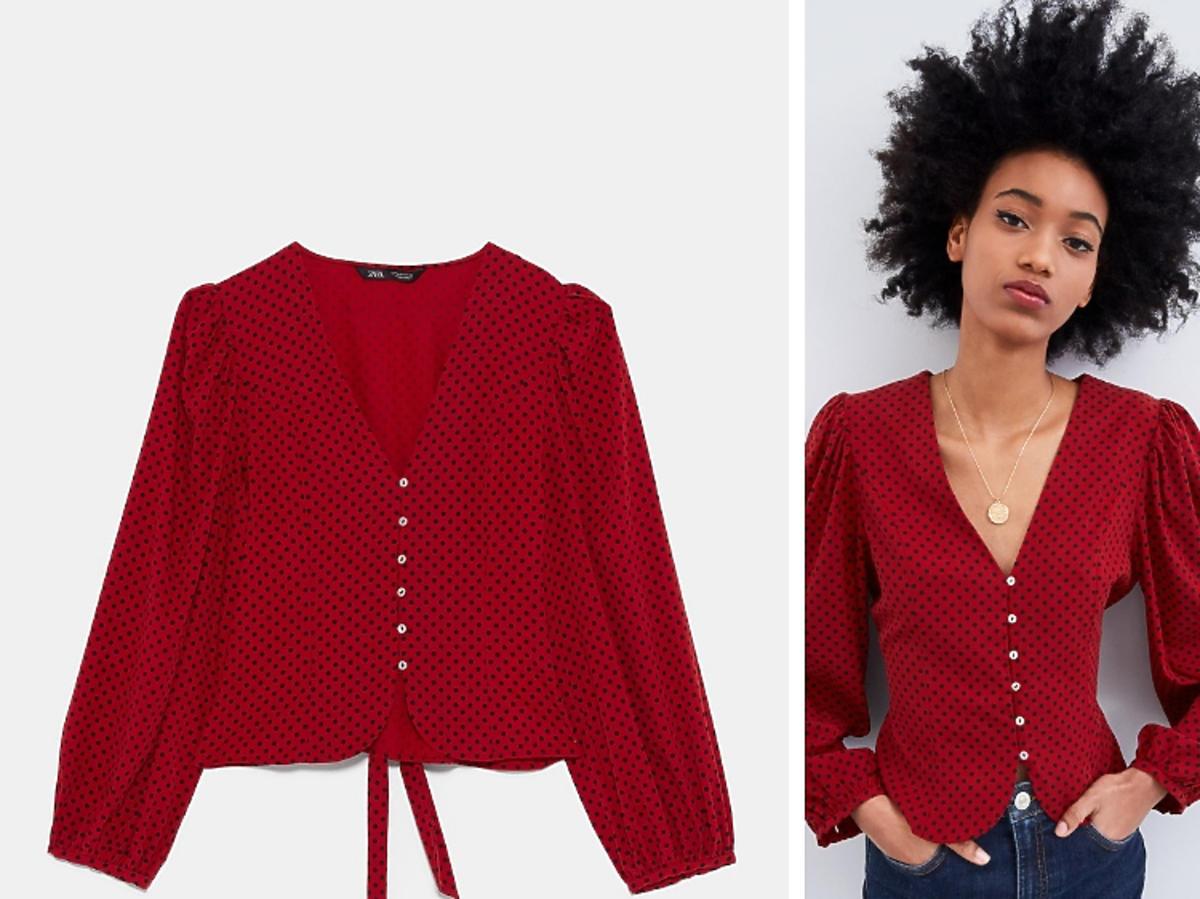 czerwona bluzka w kropki