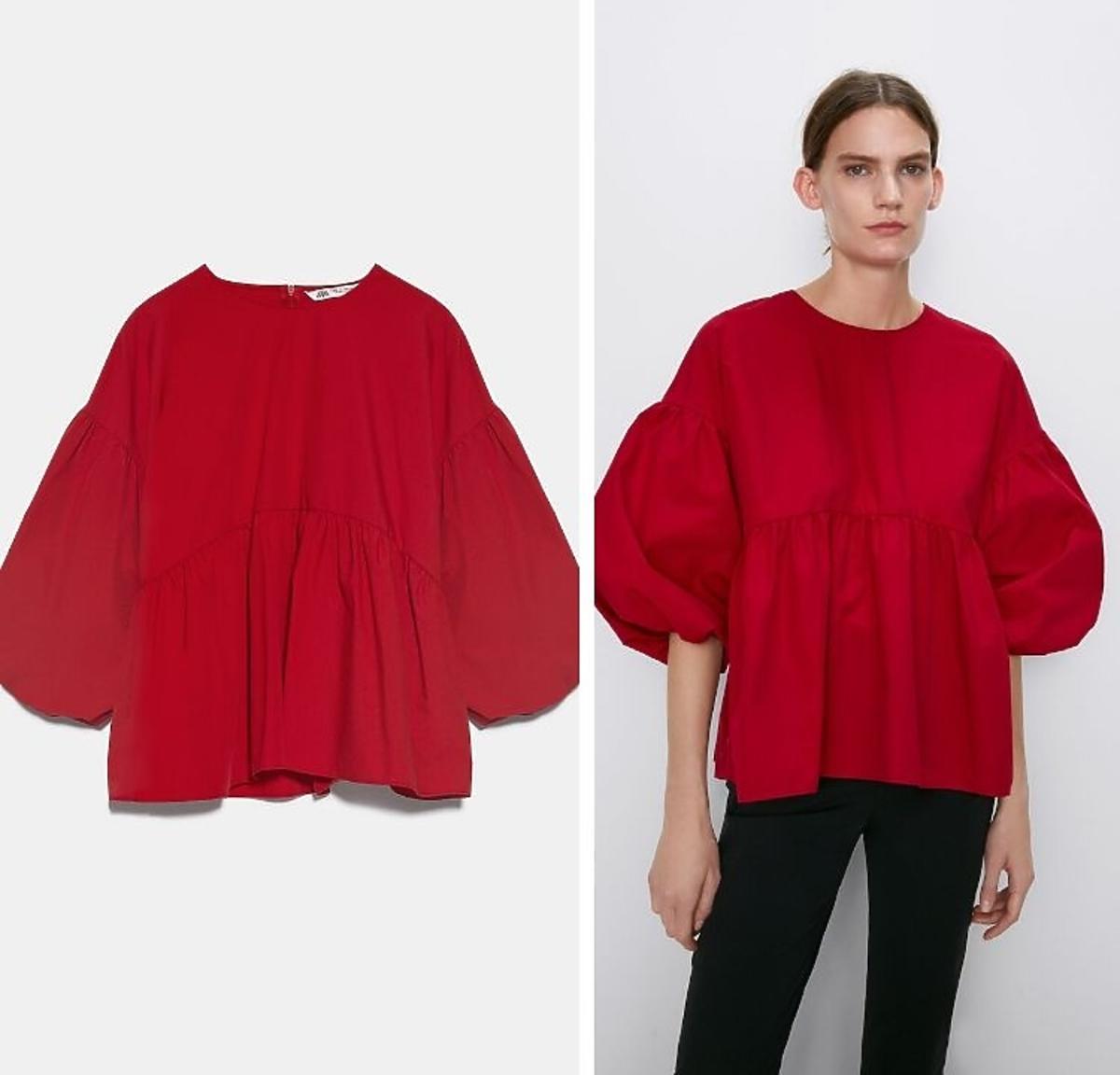 czerwona bluzka z bufkami Zara wyprzedaż