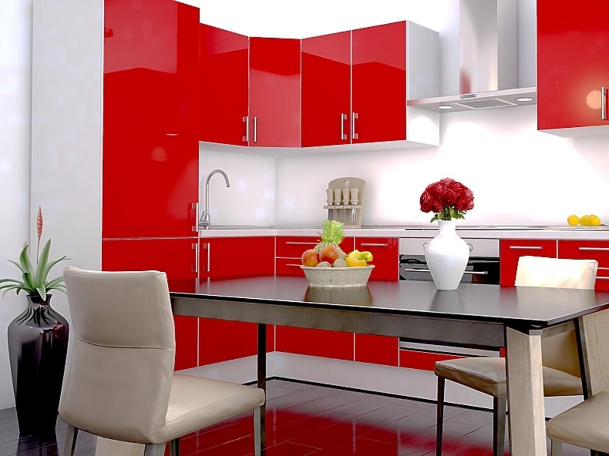 czerwona, błyszcząca kuchnia